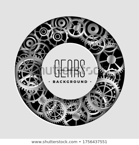 realistic metallic gears circular frame background design Stock photo © SArts