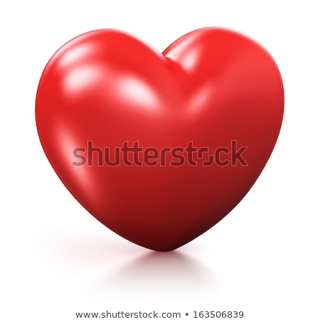 red diamond in shape of heart on glossy white stock photo © oneo