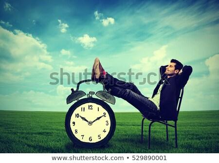 Stok fotoğraf: Zaman · dinlenmek · saat · sözler · beyaz · iletişim