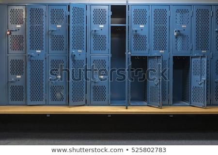 Szekrényes öltöző illusztráció atléta iskola sportok fiú Stock fotó © lenm