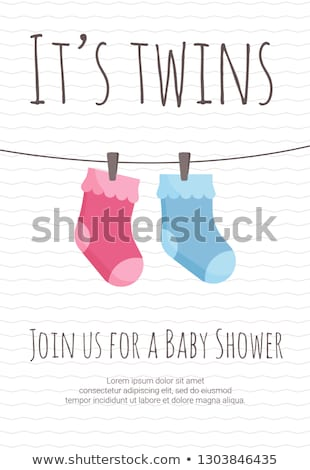 Boy or girl birth postcard with baby socks. Stock photo © Bytedust