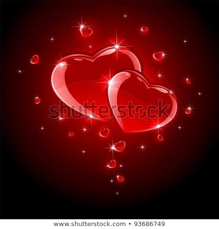 elegant red background with heart of glass hearts and stars stock photo © artida
