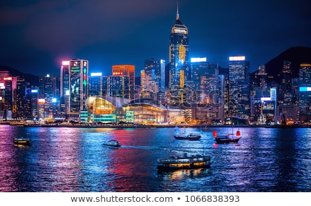 Hong-Kong · nuit · arbre · bâtiment · paysage · bleu - photo stock © cozyta