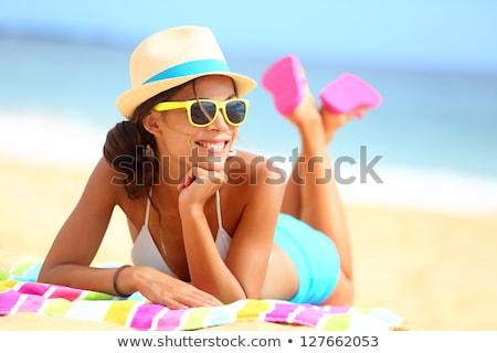 praia · óculos · de · sol · mulher · sol · sensual - foto stock © angelp