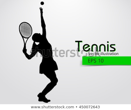 Woman tennis player silhouette. Colored Vector illustration for  Stock photo © leonido