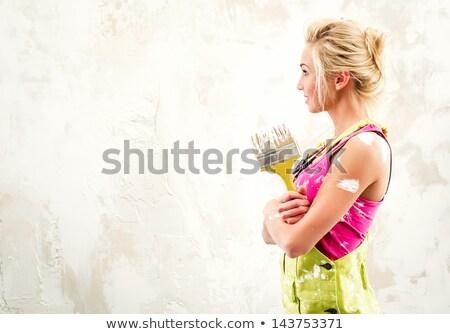 Artesano perfil pincel trabajo casa Foto stock © photography33