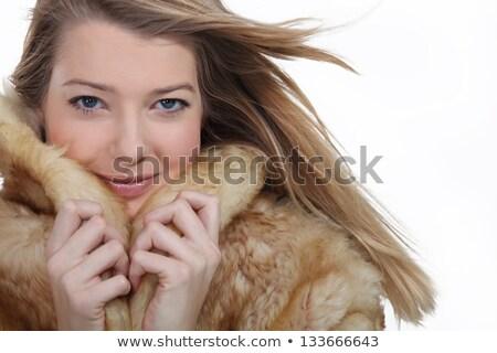 Stock fotó: Nő · felfelé · szőrmebunda · arc · tél · állatok