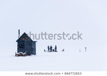Ijs vissen sneeuwstorm tent meer winter Stockfoto © brm1949