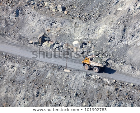 Dump truck in the asbestos quarry