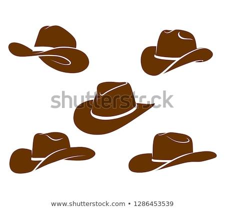 Foto stock: Vintage · chapéu · de · cowboy · branco · vaca · cabeça · roupa