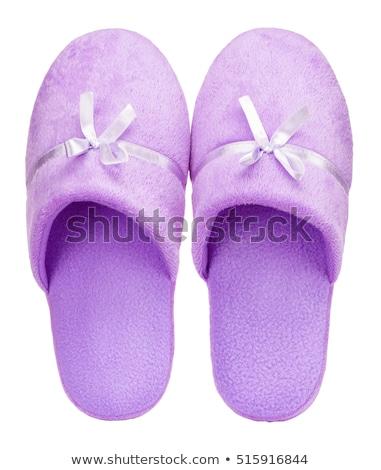 Pár lila házi cipők test szépség fürdőkád Stock fotó © photography33