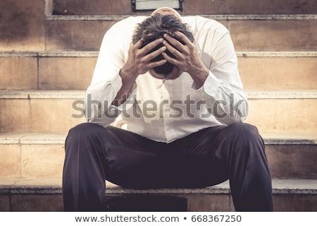 nyugtalan · férfi · fej · vektor · terv · illusztráció - stock fotó © dvarg