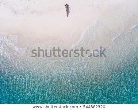 deportivo · nina · bikini · arena · blanca · colorido · feliz - foto stock © dolgachov