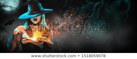 güzel · genç · kadın · cadı · kostüm · şapka · süpürge - stok fotoğraf © carlodapino