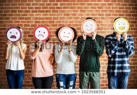 Diferente emoções foto menina cara garfo Foto stock © FotoVika