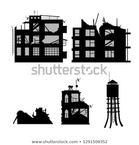 Panoráma elpusztított épület bent ajtó háttér Stock fotó © Glasaigh