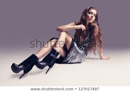 官能的な · 女性 · ポーズ · エレガントな · 銀 · ランジェリー - ストックフォト © konradbak
