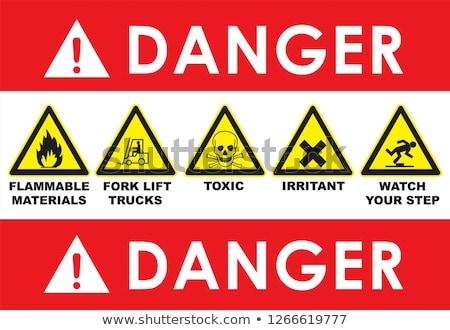 Triangular Warning Hazard Symbols. Big red set Stock photo © Ecelop