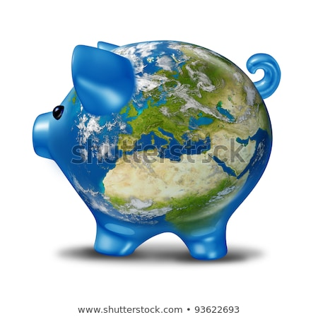 Europe Economic Crisis as World Map Piggy Bank Stock photo © Lightsource