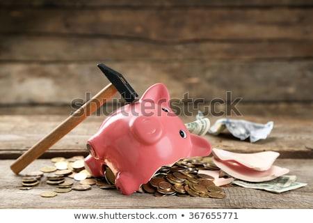 Piggy bank quebrado dinheiro martelo branco numerário Foto stock © wavebreak_media