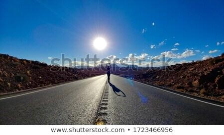 прямой · дороги · Blue · Sky · белый · пушистый · облака - Сток-фото © snyfer