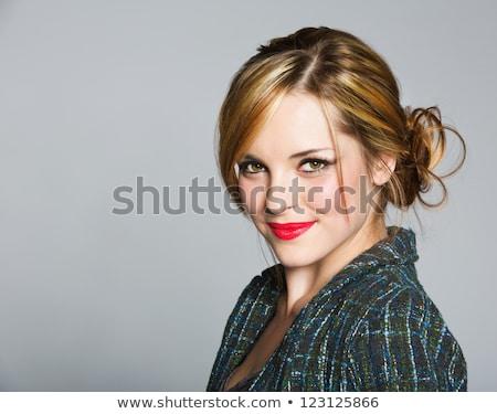 belo · empresária · make-up · batom · vermelho · branco · mão - foto stock © lunamarina