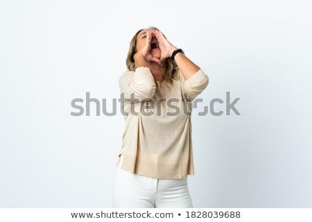 Uit luid mooie jonge vrouw geïsoleerd Stockfoto © iko
