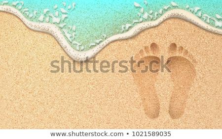 lábnyomok · nedves · homok · tengerpart · nyom · napos · idő - stock fotó © stockyimages