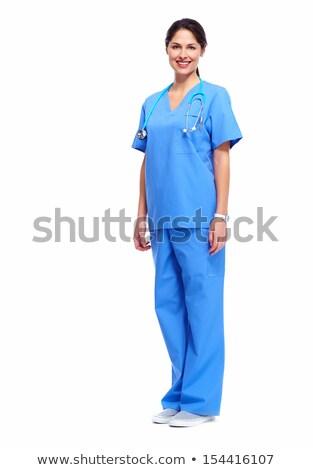 азиатских · медсестры · Постоянный · изолированный · белый · кавказский - Сток-фото © stepstock