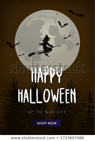 Stockfoto: Halloween Sale Card With Little Witch Vector Illustration