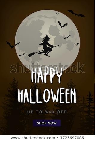 Stockfoto: Halloween · verkoop · kaart · weinig · heks · kind