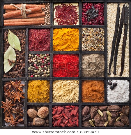 Especias cuadro contenedor variedad Foto stock © stocker