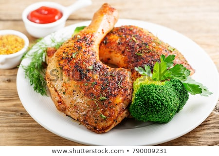 жареная · курица · ног · чаши · таблице · куриные · группа - Сток-фото © givaga