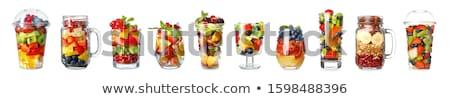 üveg gyümölcssaláta alma banán saláta édes Stock fotó © M-studio