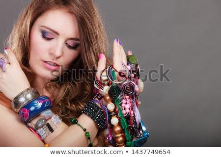 Décoration portrait femme perles perles Photo stock © gromovataya