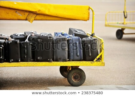 trolleys loaded with luggage at an airport stock photo © juniart