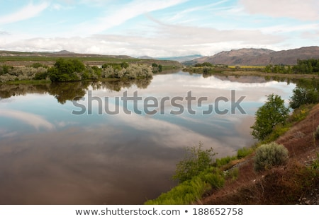 Shoreline Sky Reflection Pend Oreille River Washington State Out Stock photo © cboswell
