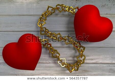 vermelho · coração · cadeia · branco · metal - foto stock © Jumbo2010