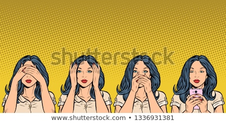hall · lát · beszéd · nem · gonosz · három - stock fotó © eyeidea
