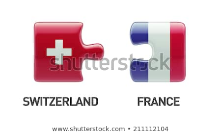 swiss and french flags in puzzle stock photo © istanbul2009