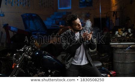 yakışıklı · adam · aydınlatma · sigara · adam · oturma · koltuk - stok fotoğraf © nejron