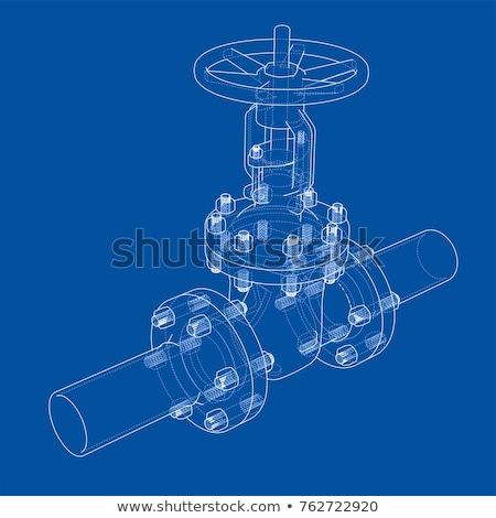 Ipari cső szelep keret izolált fehér Stock fotó © motttive