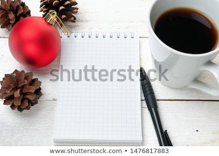 Vermelho copo revistas caderno preto Foto stock © simply