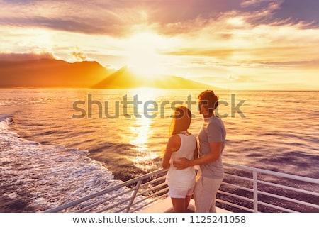 Stockfoto: Liefhebbers · zonsondergang · illustratie · paar · bruiloft · liefde
