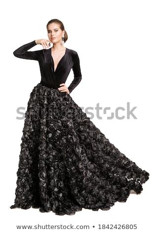 Mulher jovem dança flamenco isolado branco música Foto stock © artjazz
