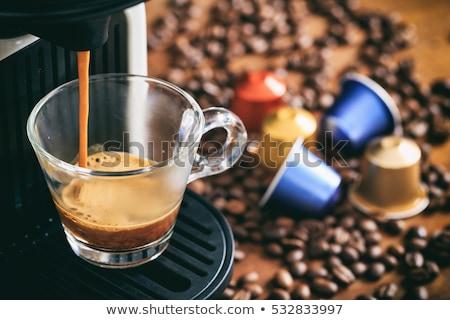 カップ コーヒー カプセル 黒 反射 背景 ストックフォト © Studio_3321
