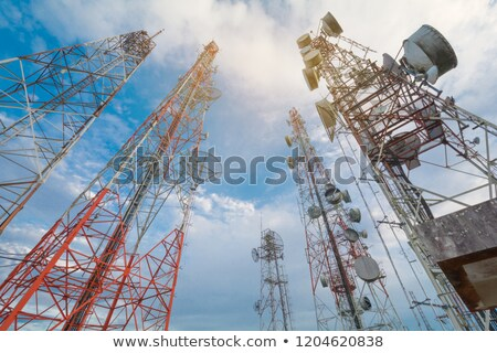 Multiplicity communications tower Stock photo © Yongkiet