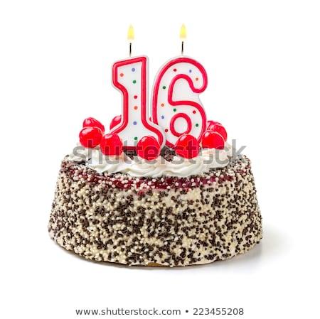 Birthday cake with burning candle number 16 Stock photo © Zerbor