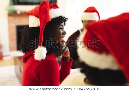 ストックフォト: 女性 · 肖像 · 美しい · ブルネット · 着用 · サンタクロース