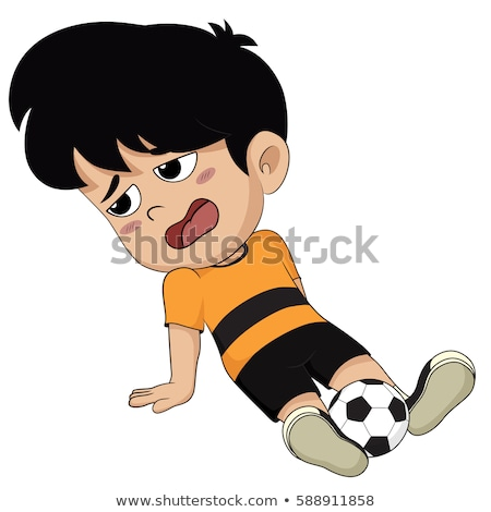 boy exhausted from playing football stock photo © meinzahn